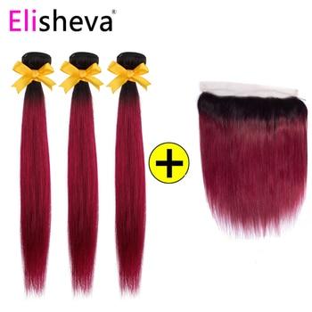 Elisheva Straight Burgundy Bundles With Closure Frontal 13x4 1B/Burgundy NonRemy Brazilian Human Hair Ombre Bundles with Frontal фото