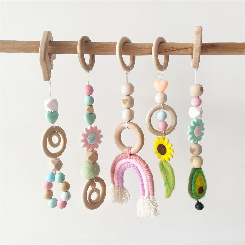 Crib Mobile Baby Toys Play Gym Wooden Beads Bed Hanging Pendant Teething Nursing Stroller 0-12 Months Baby Rattle Toys
