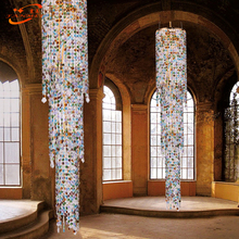 Modern LED Lead Crystal Chandelier Lighting Luxury Hotel Crystal Chandelier Colorful Staircase Crystal Chandelier