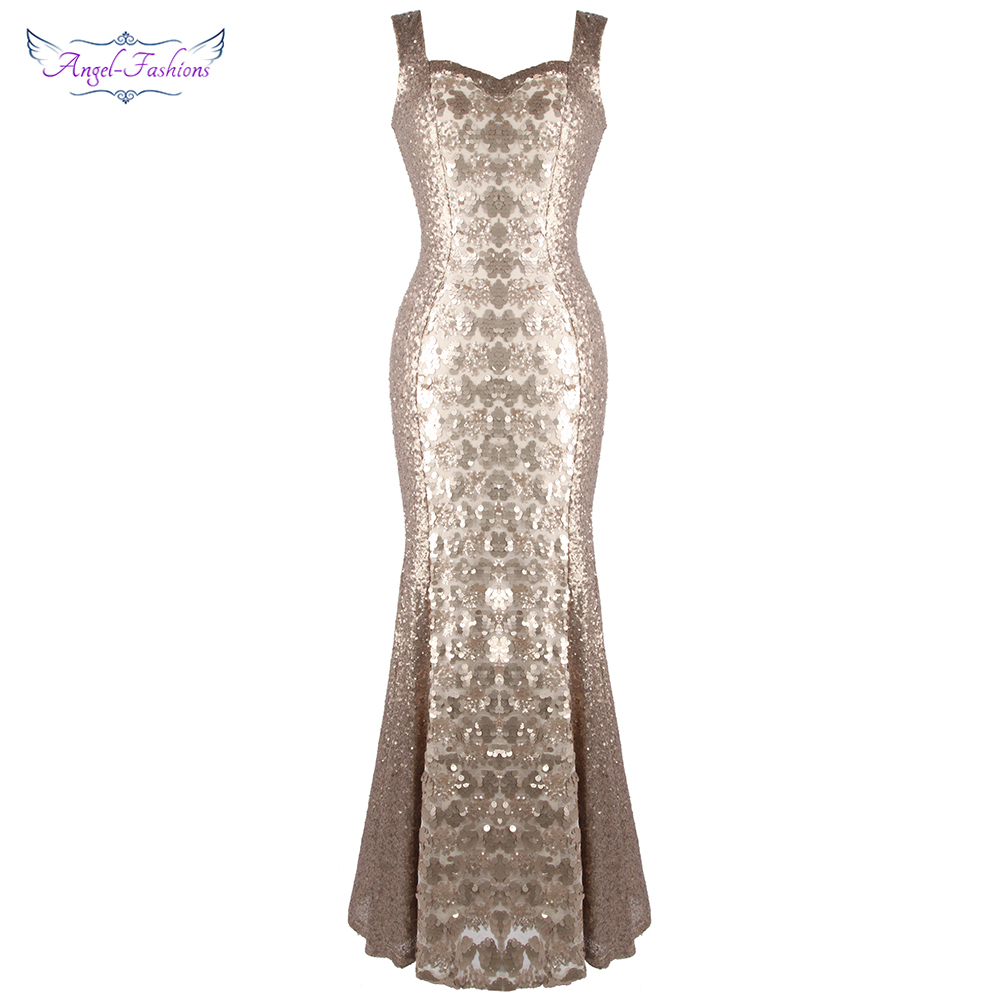Angel-fashions Women's Sleeveless Gold Sequin Evening Dresses Long Wedding Party Dress J-191106-S