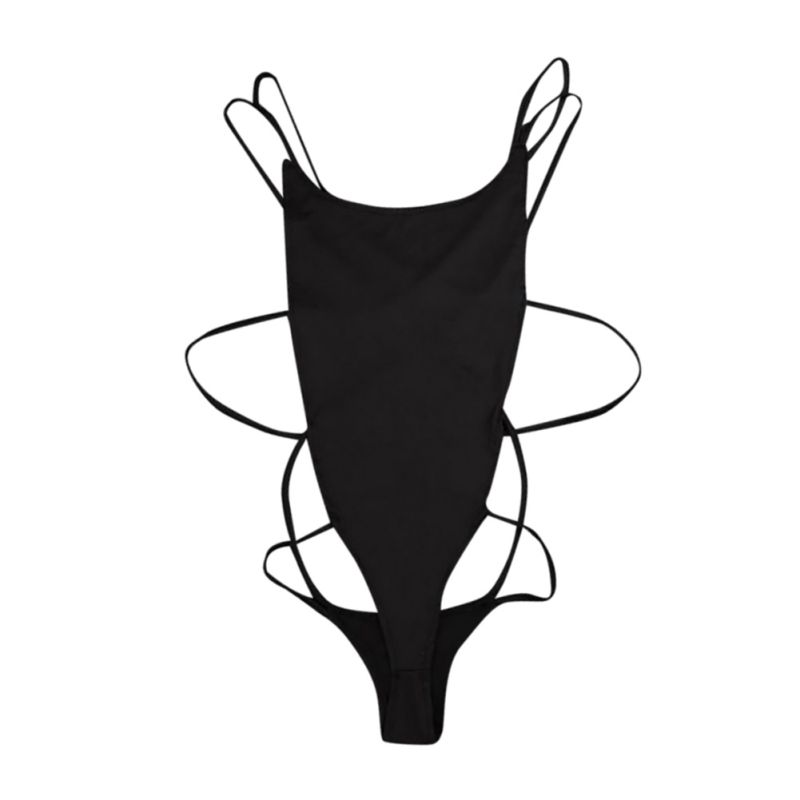 Lace Revealing Back-Less Onesize Black Sexy Summer Sleeveless Woman Color Slim Round-Collar