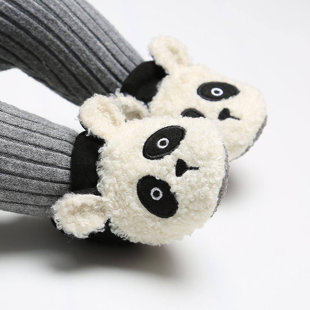 Cute Newborn Baby Girls Boys Fleece Crib Shoes Soft Winter Warm Snow Animal Print Shoes Flat Sole Baby Shoes 0-18Months