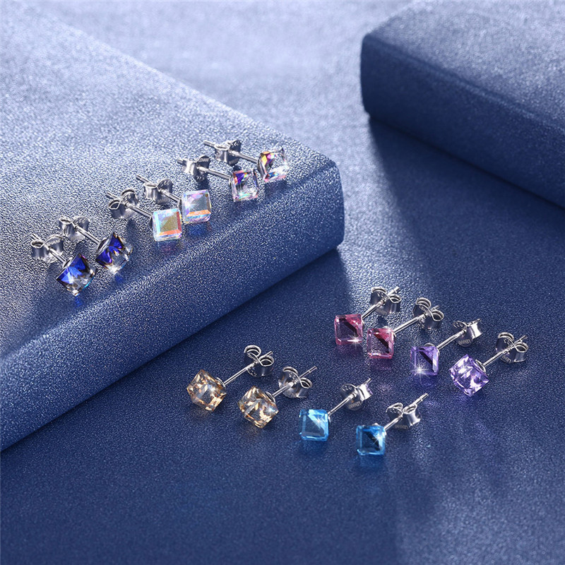 COLOGO Hot Sale 100 Real 925 Sterling Silver Sparkling Square seven colors crystal Stud Earrings For Women Jewelry Gift LKN0077 in Stud Earrings from Jewelry Accessories