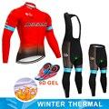 2019 красная Команда Астаны, зимний термальный флисовый комплект из джерси и велосипедных штанов, Мужская одежда для велоспорта Ropa Ciclismo 9D