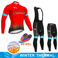 2019 vermelho astana equipe inverno velo térmico ciclismo jérsei calças da bicicleta conjunto ropa ciclismo 9d ciclismo maillot culotte wear