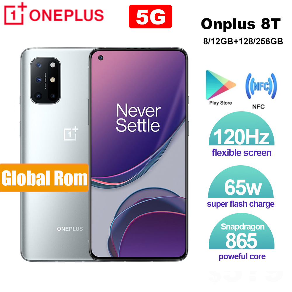 Brand New Oneplus 8T 8 T SmartPhone 120Hz Fluid AMOLED Display Snapdragon 865 Octa Core 65W Warp Charge One plus 8T Mobile Phone