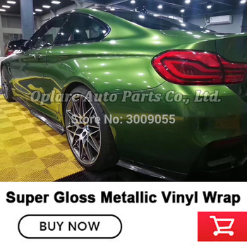 Newest High-end series green super Glossy metallic vinyl wrapping film guarantee quality  low initial tack adhesive