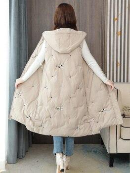 Chaleco de talla grande 5XL para mujer, ropa de calle de moda, chaleco para mujer con bordado de grúa, abrigo de longitud media 2020