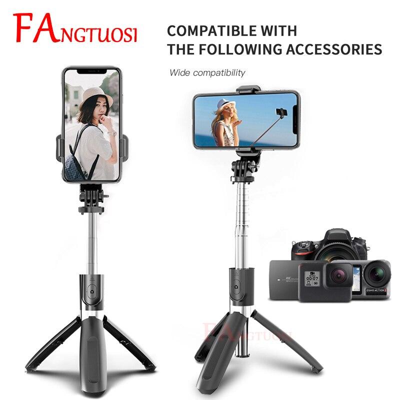 FANGTUOSI 2020 New wireless selfie stick Extendable Foldable monopod Bluetooth selfie stick tripod for iphone Camera DSLR