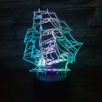 Sail Boat 3D Optical Illusion Novelty Desk Table Lamp Beautiful Sea Boat usb led 3D Night Light Home Decor Xmas Gift For Friend
