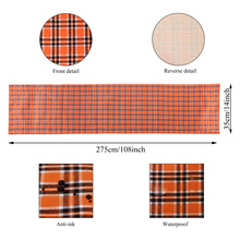 Halloween Party Decoration Buffalo Plaid Table Runners Orange Black Waterproof Double Sided Runner Parties Everyday Use