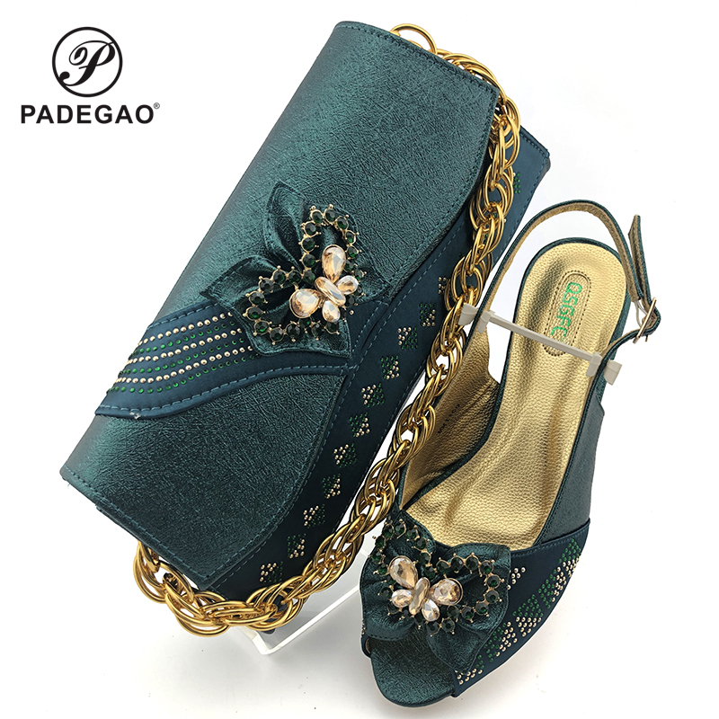 Fashion Women  Green Sandals And Bag Set To Match High Quality African Shoes With Matching Bags For Wedding Party