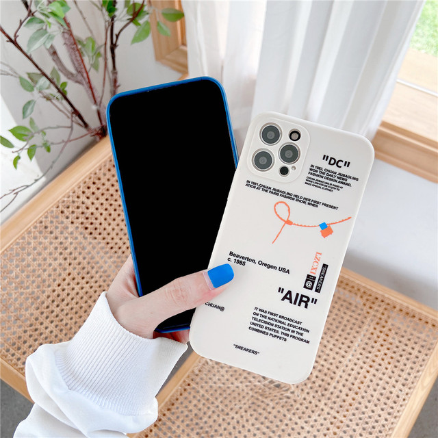 Hot Tides brand sneakers Phone Case For iPhone 12 mini 11 Pro X XR XS MAX 7 8 6 Plus Simple label letter Silicone Cover Coque 4