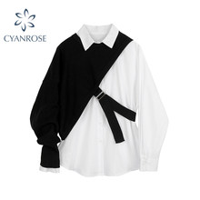 Chemise à manches longues et col rabattu pour femme, ensemble deux pièces tricoté, nouvelle collection automne 2020