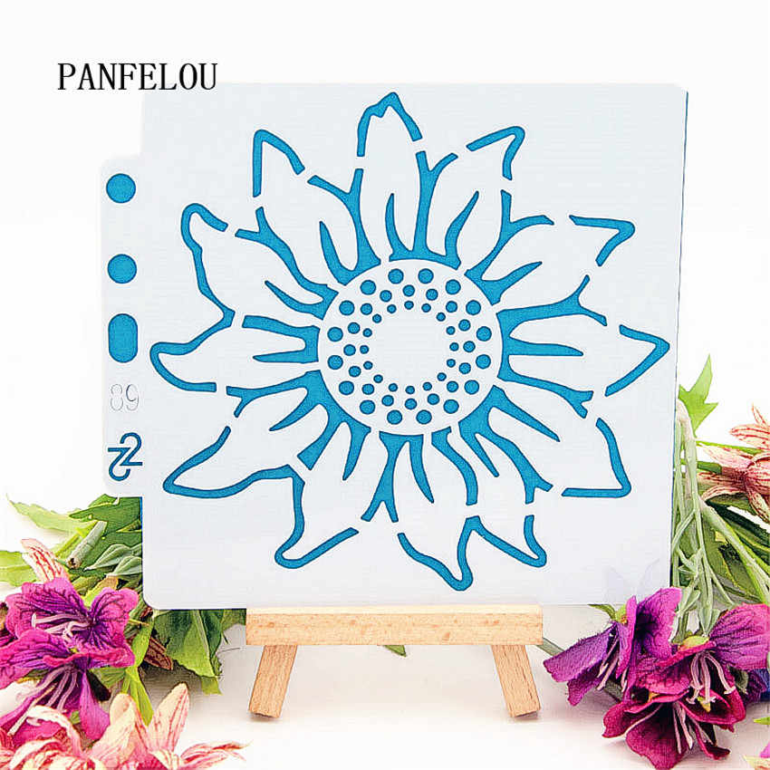 Hote Sale hello fall sunflower scrapbook stencils spray plastic mold shield DIY cake hollow Embellishment printing lace ruler