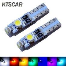 KTSCAR 1000 sztuk światła LED samochodowe T5 3 led smd 3528 Wedge LED żarówka lampy 3SMD kontrolki Dashboard wskaźnik ostrzegawczy 12v