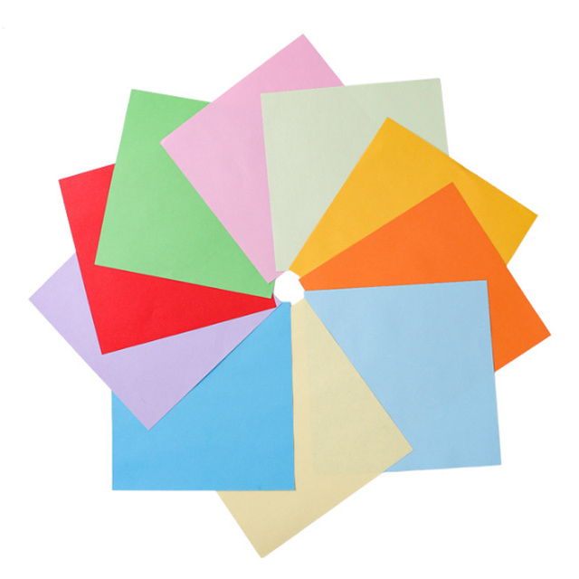 100 Sheets/pack Square Origami Gift Packaging paper Double Sides Paper Pure Wood Pulp DIY Handmade Folding Paper 2