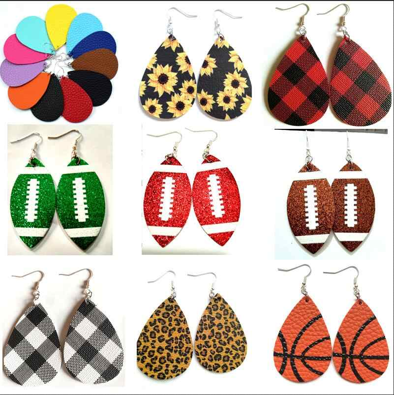 AKOLION Women's Faux Leather Floral Print Teardrop Dangle Pierced Earrings