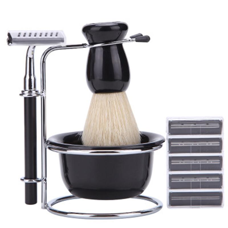 Suporte de Barbear Preto + Escova de Cerdas Tigela + Navalha de Segurança + Lâminas Conjunto de Viagem para Homem 5 em 1 & Mod. 112399