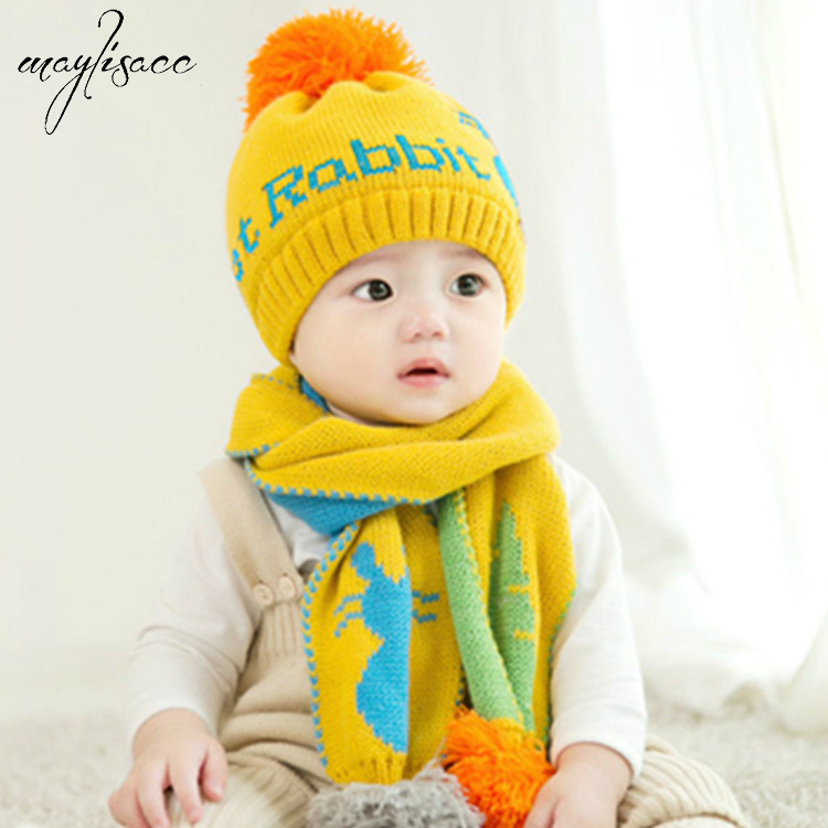 6 Color 1-3 Years Old Baby Hat Scarf Set Autumn Winter Boys And Girls Warm Hat Scarf Set Beanies&skullies With Velvet Earmuffs