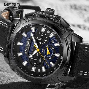 Image 3 - MEGIR montre bracelet de Sport militaire pour hommes, de luxe, bracelet en cuir, étanche, Quartz, marque supérieure, chronographe, nouvelle collection 2128