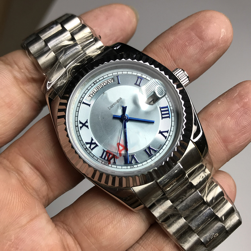 Blue dial Silver Classic men 36mm mechanical glide smooth watch 2813 movement Luxury brand Day Date model AAA watches