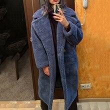 אמיתי פרווה ארוך מעיל חורף מעיל נשים 100% צמר תוכן ארוג בד עבה חם רופף ענקיות הלבשה עליונה Streetwear טדי מפנק
