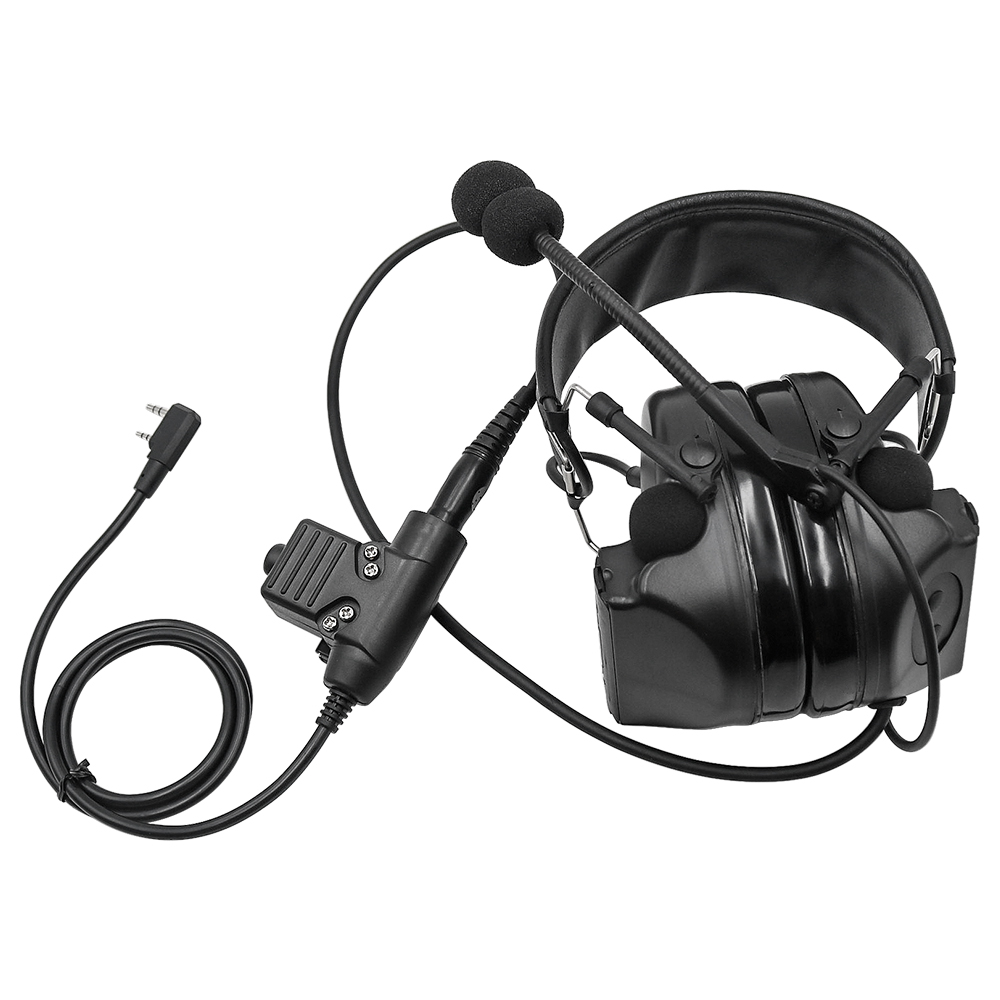 Tactical Headset Comtac II Military Headphones Noise Reduction Pickup Earphone Ear Protection Shooting Earmuffs BK+ U94 PTT Plug