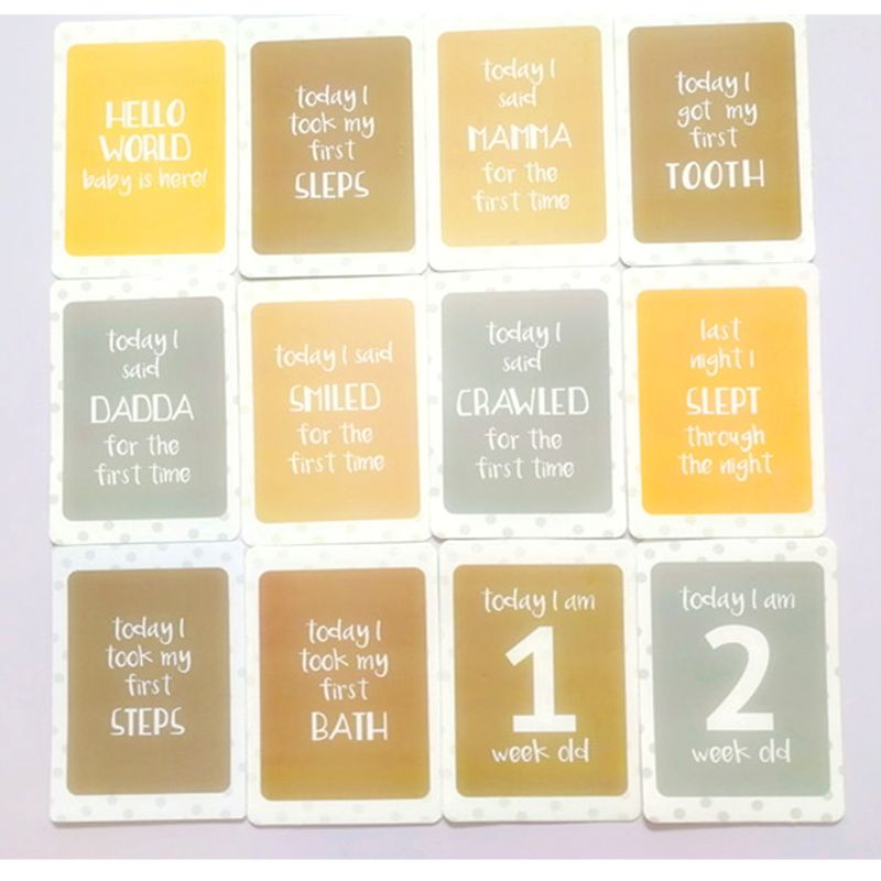 24Pcs/Set For Memory Baby Pregnant Women Monthly Photograph Cards Fun Month Milestone Cards 12.5x17.5cm