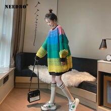 Женский длинный вязаный свитер в стиле пэчворк с высокой эластичностью