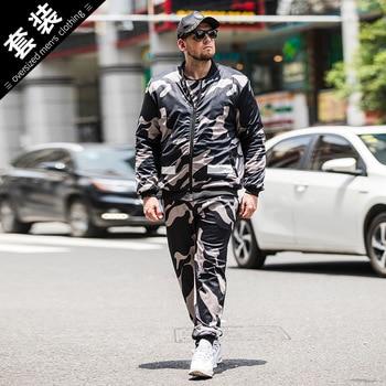 Sport Suit Two Piece Camouflage Oversize Set Men's New Fat Thicken Jacket+Pant Set Casual Mens Tracksuit Jogging Suit Mens 7XL