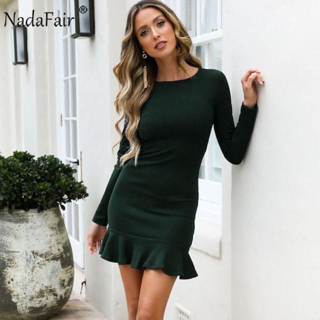 Nadafair Ruffles Long Sleeve Wrap Mini Casual Autumn Winter Dress Women O Neck Solid Sexy Elegant Party Bodycon Dress