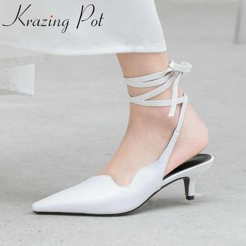 Krazing pot genuine leather pointed toe high heels bowtie women shoes Korean street dating summer shallow ankle strap pumps L19
