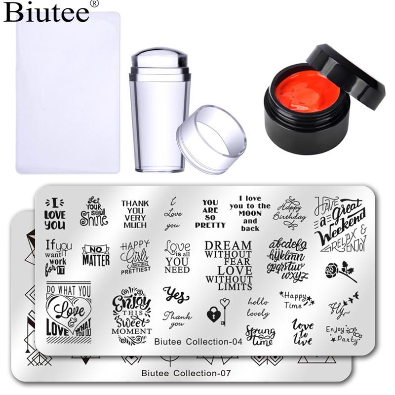Biutee 12 Colors Stamping Poly Gel Set Gel Enamel Templates Design Stamp Jelly Silicone Stamper Set Stamping Gel Polish Nail