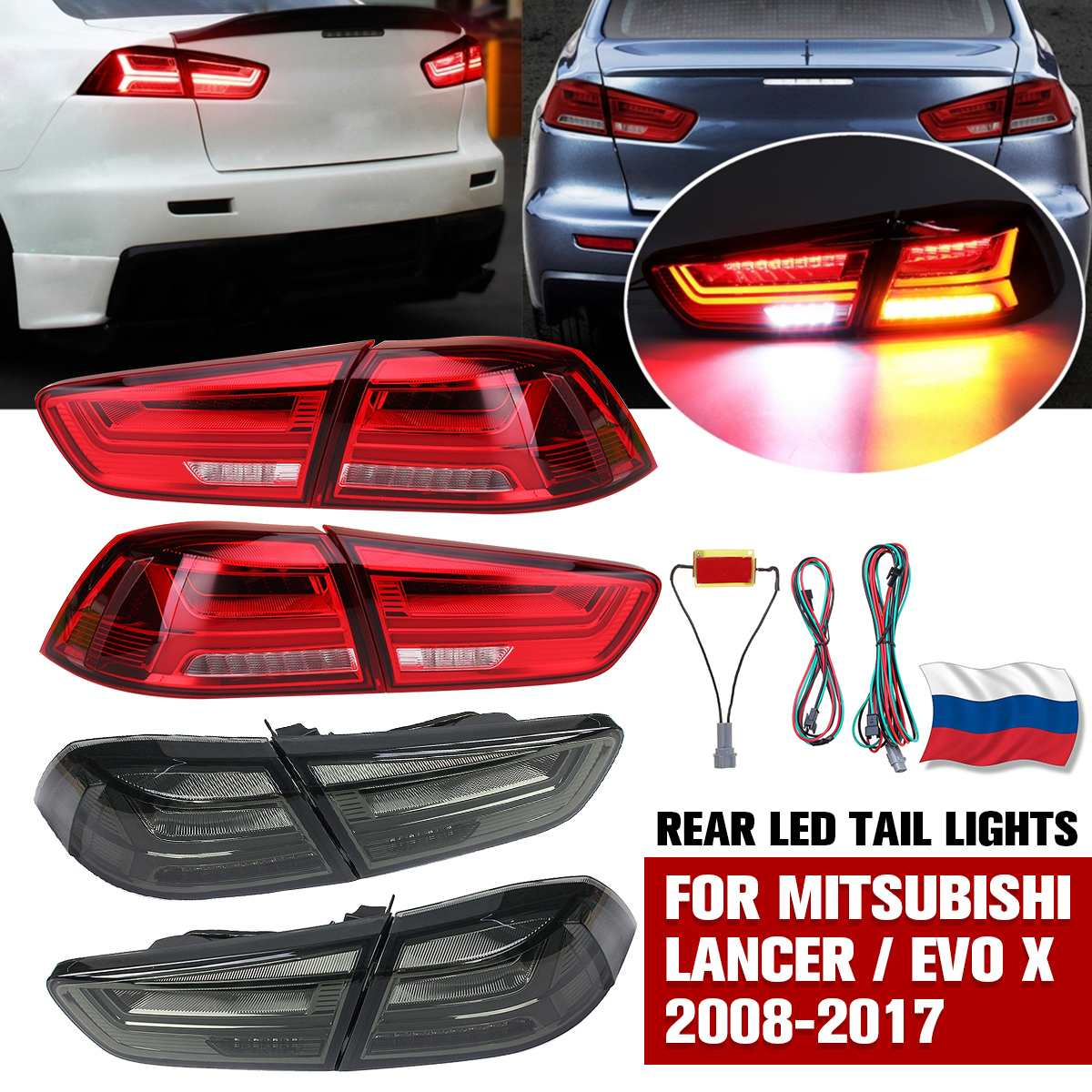 Left&Right Side Rear <font><b>LED</b></font> Tail Light Assembly Signal Brake Stop Lamps for <font><b>Mitsubishi</b></font> <font><b>Lancer</b></font>/ EVO <font><b>X</b></font> 2008-2017 DRL Taillight image