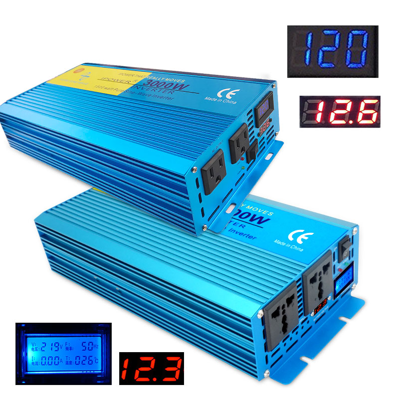 Digital Display pure sine wave power inverter 3000W DC 12V 24V To AC 110V 220V CAMPING BOAT Converter With LCD Display 2 AC OUT