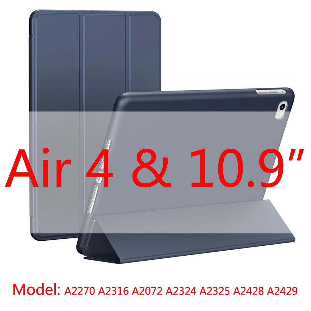 D blue-Air4 Red 2020 New Soft Silicone Case For ipad Air4 with Smart Sleep Wake Funda Capa Case for