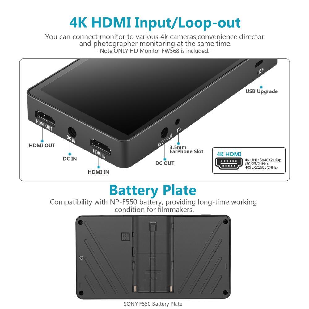 Moniteur 5,5 avec 4K HDMI 8.4V CC Entr/ée Sortie et Bras Pivotant pour Sony Nikon Canon et Cardan Neewer Ecran Moniteur FW568 sur Cam/éra Appareil Photo Batterie Non Incluse