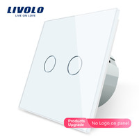 Livolo 2 Gang 1 Way Wall Light Touch Switch Wall home switch Crystal Glass Switch Panel  EU Standard   220 250V C702 1/2/3/5 livolo 2 gang crystal glass switch panel switch panel -