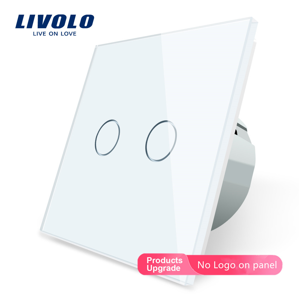 #Livolo EU Standard 2 Gang 1 Way Wall Touch Light Switch,Wall power sensor switch,7colors Crystal Glass Panel,with led backlight#