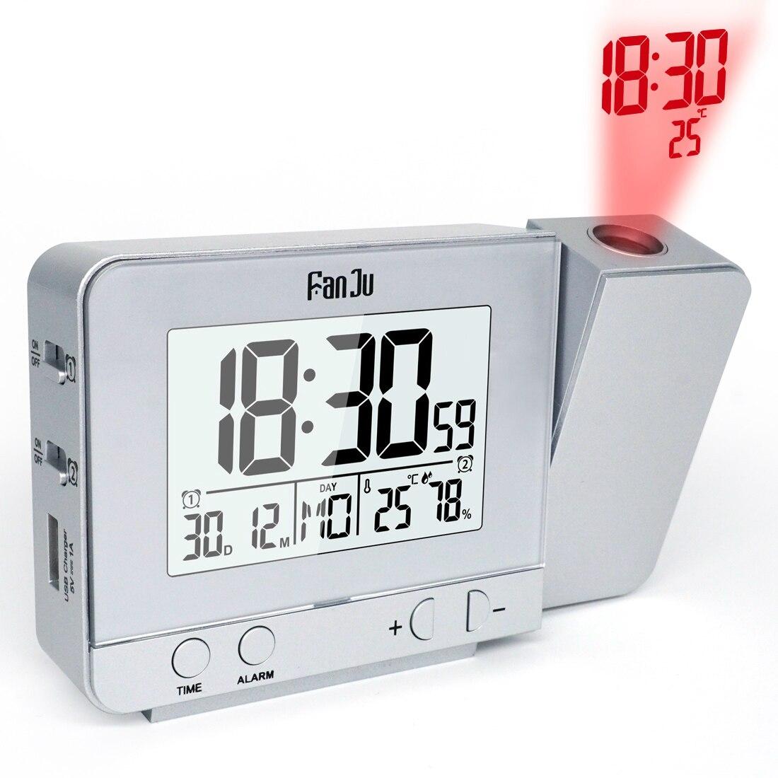 FanJu Digital Snooze Alarm Clock Projection Function Backlight Projector Desk Table FJ3531