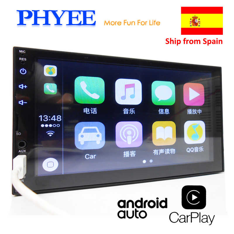 "2 Din Apple Carplay Autoradio Bluetooth Android Auto 7 ""Touchscreen Video MP5-speler USB TF ISO Stereo-systeem Hoofdunit PHYEE X2"