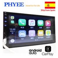 """2 Din Apple Carplay Radio samochodowe Bluetooth Android Auto 7 """"Ekran dotykowy Odtwarzacz wideo MP5 USB TF ISO System stereo Jednostka główna PHYEE X2"""
