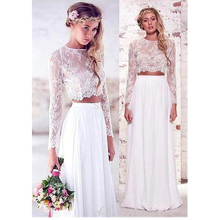 Chiffon Boho Wedding Dresses Long Sleeves Beach White Ivory Lace Two Piece Bridal Dress  See-through Wedding Gowns