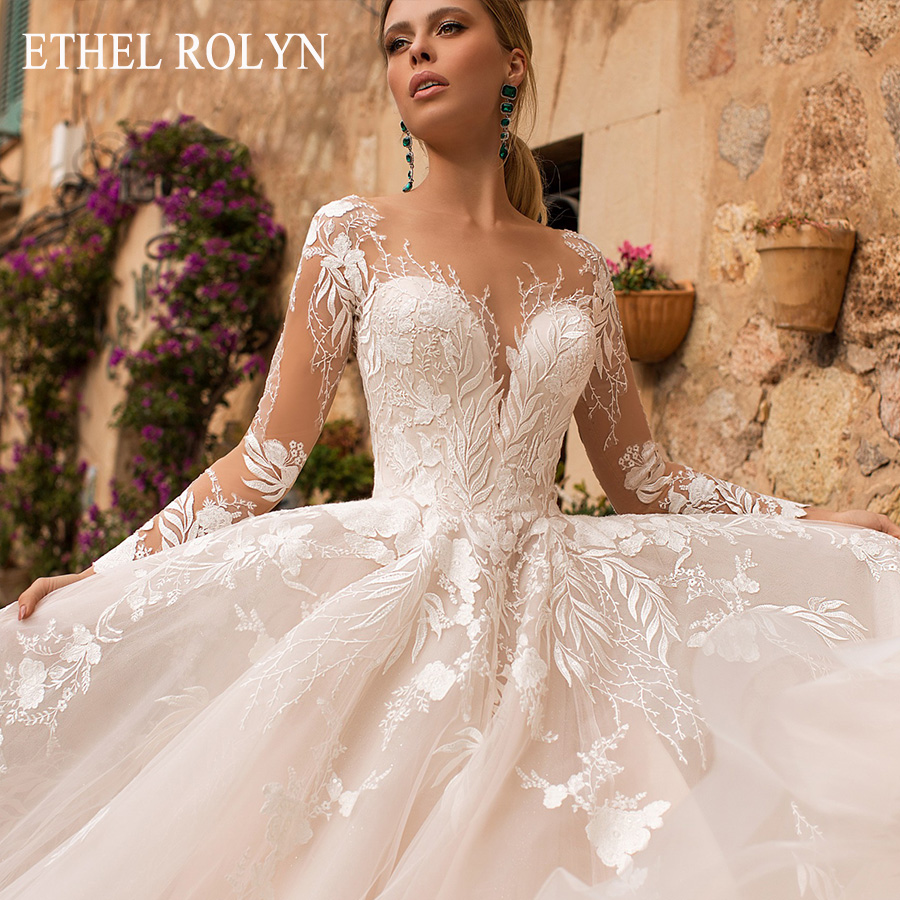 ETHEL ROLYN Romantic A-Line Wedding Dresses Long Sleeve Button Illusion Appliques Vestido De Noiva Robe De Mariee Bride Dress