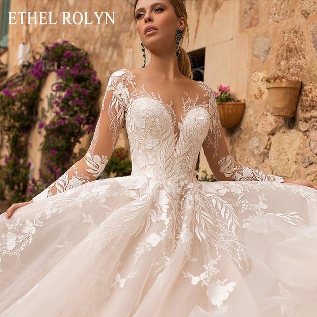 ETHEL ROLYN Romantic A Line Wedding Dresses Long Sleeve Button Illusion Appliques Vestido De Noiva Robe De Mariee Bride Dress