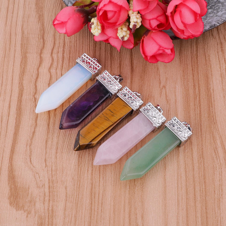 Natural Quartz Pendant Necklace Aura Quadrangular Column Crystal Pendant 7 Chakra Balance Healing Pendant Necklace