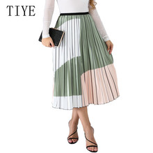TIYE Fashion Contrast High Waist Pleated Skirts Summer Womens Elastic Midi Femme Casual Printed