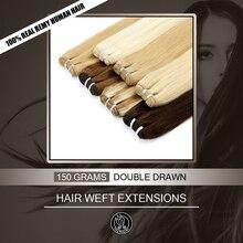 Peri Remy saç çift çekilmiş 16 22 inç doğal Remy insan saçından örülmüş gerçek avrupa düz demetleri saç ekleme 150 g/adet