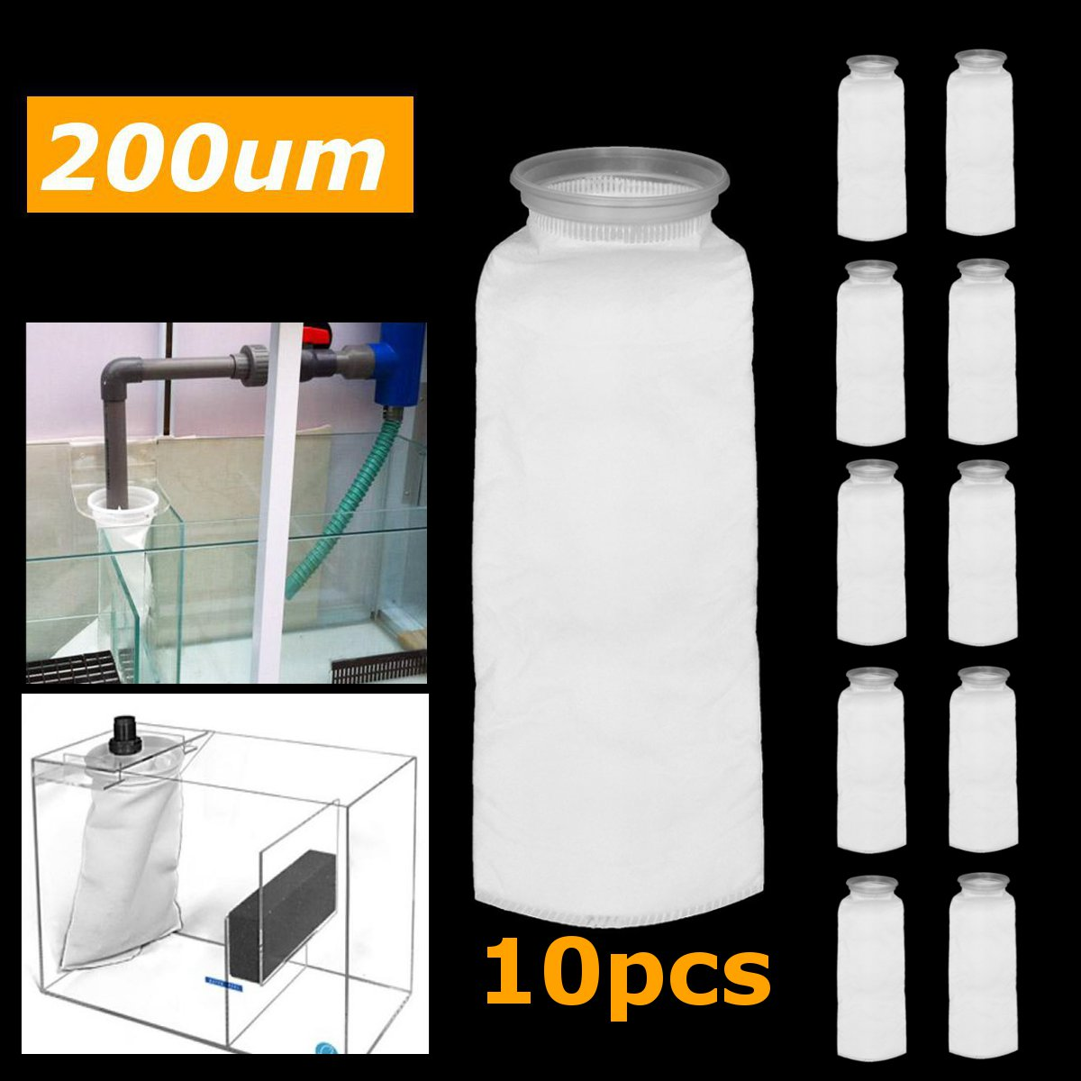 10pcs/set Fish Tank Filter Mesh Bag 4 Inch Fish Aquarium Marine Sump Filter Pre Filter Sock Bag Water Purifier Parts Aquarium